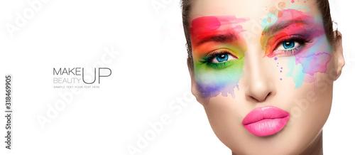 Obraz Beauty make up. High fashion model with creative colorful makeup. - fototapety do salonu