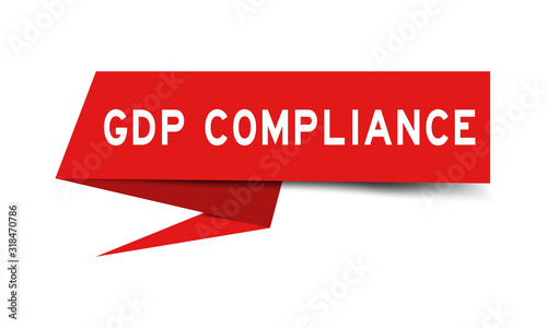 Photo Red color paper speech banner with word GDP (Good distribution practice) complia