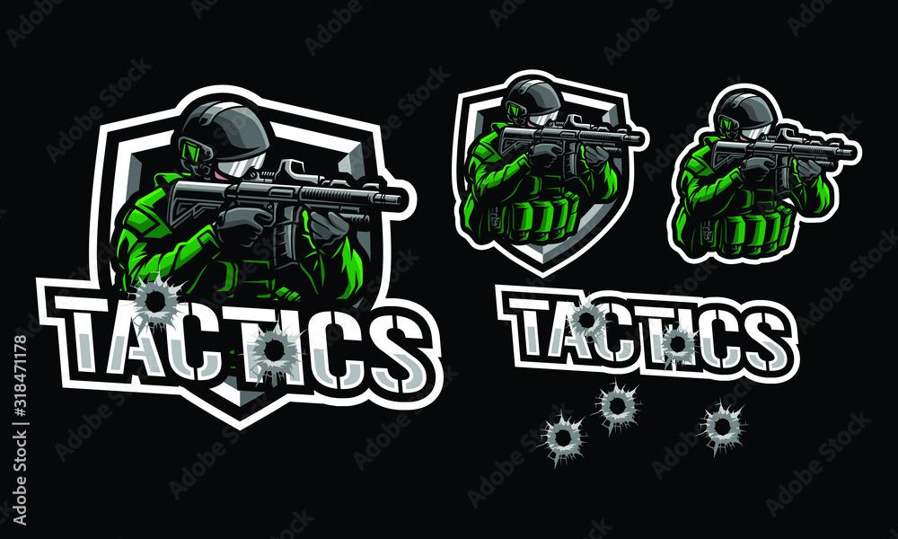 Fototapeta Tactics soldier mascot logo design for sport or e-sport logo isolated on dark background
