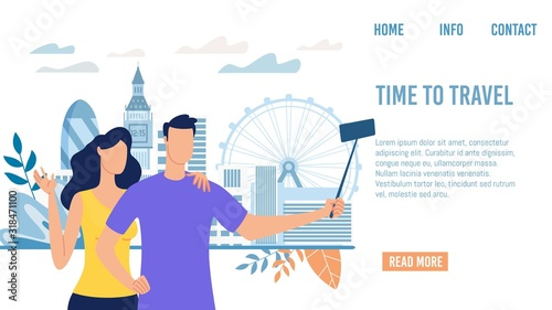 Travel Agency, Startup, Online Service for Tourists Trendy Flat Vector Web Banner, Landing Page Template Fotobehang