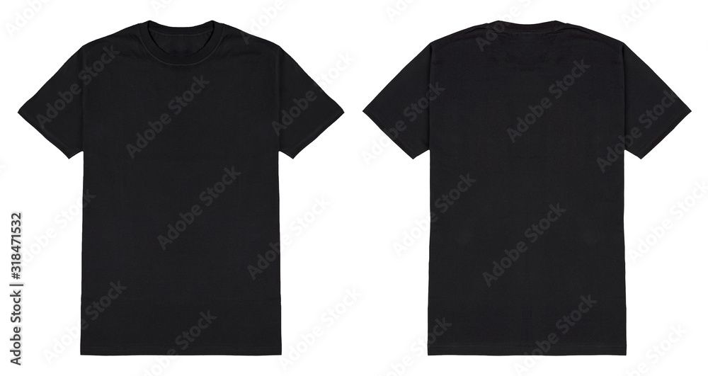Fototapeta Black t shirt front and back view, isolated on white background. Ready for your mock up design template.