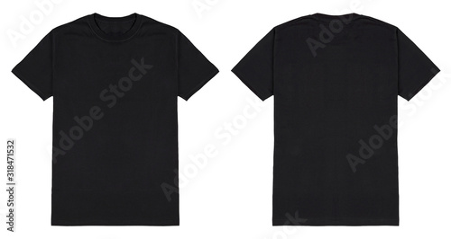 Carta da parati Black t shirt front and back view, isolated on white background