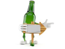 Green Glass Bottle Character W...