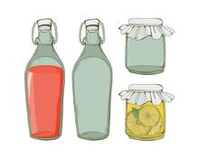 Glass Set Of Jars And Bottles ...