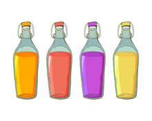 Set Of Glass Bottles With Different Drinks In The Vector. Fruit Or Berry Juice. Homemade Preparations Of Fruits And Berries. Isolated Object. Lemon, Grape, Orange And Strawberry Juice