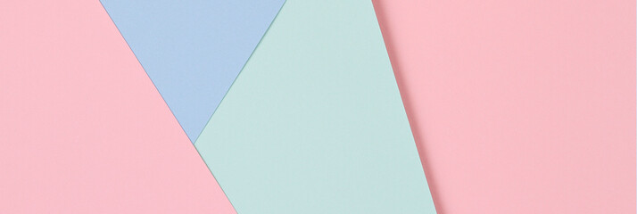 Abstract colored paper texture background. Minimal geometric shapes and lines in pastel pink, light blue and green colours