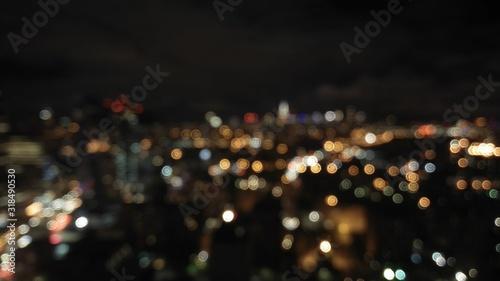 Fototapeta DEFOCUSED IMAGE OF ILLUMINATED CITY AT NIGHT obraz