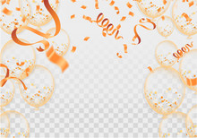 Balloons, Confetti And Ribbons, Celebration Background