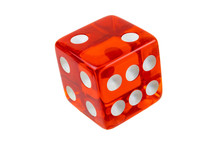 Closeup Red Dice Isolated On White. Full Clipping Of The Cube With Faces 2, 4 And 6.