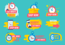 Hot Offer Badges. Countdown Promotional Deals 24 Hour Sales Vector Advertising Stamp Templates. Badge Special Shopping Countdown, Discount Label Sticker Illustration
