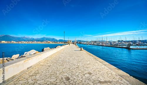 Fotografie, Obraz Viareggio Darsena promenade and port entrance