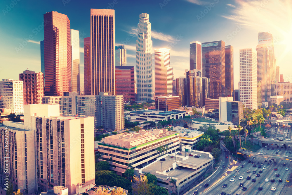 Fototapeta Aerial view of a Downtown Los Angeles before sunset