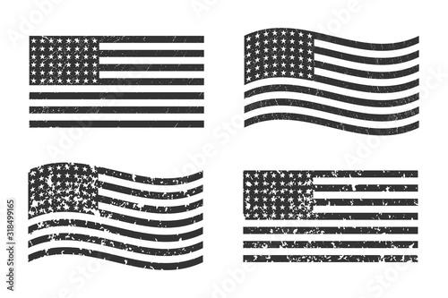 Fototapeta USA American grunge flag set, dark gray isolated on white background, vector illustration.  EPS10. obraz