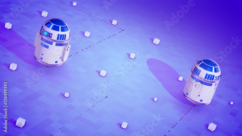 Photo Sci-fi droid movement on the violet surface