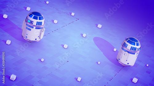 Fotografia, Obraz Sci-fi droid movement on the violet surface