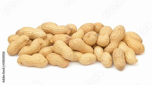 Peanuts in shell isolated on white background Wallpaper Mural
