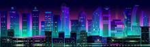 Night City Panorama With Neon ...