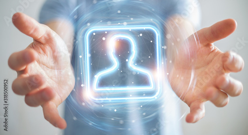Man using digital blue holographic user interface 3D rendering - 318500952