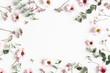 Leinwandbild Motiv Flowers composition. Pink flowers on white background. Flat lay, top view