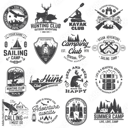 Photo Summer camp, hunting club, sailing camp, yacht club, canoe and kayak club badges