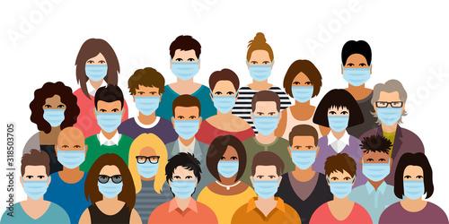 Fotografía Group of people wearing medical masks