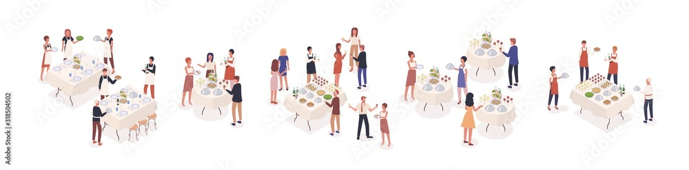 Fototapeta Cartoon visitors at social event isometric vector illustration. Corporate banquet party with celebration people and catering staff. Stand-up meal with guests isolated on white
