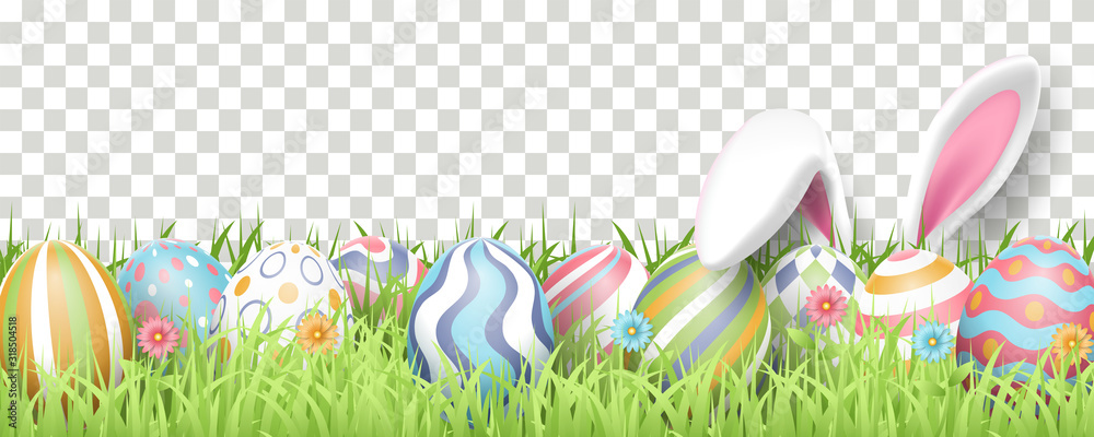 Fototapeta Happy Easter background with realistic painted eggs, grass, flowers, and rabbit ears. Vector illustration isolated on transparent background