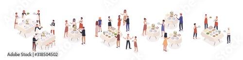 Valokuva Cartoon visitors at social event isometric vector illustration