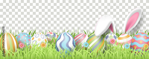 Happy Easter background with realistic painted eggs, grass, flowers, and rabbit ears Canvas Print