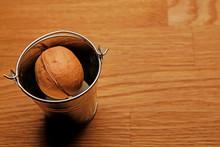 Walnut Bucket Wooden Desk Background