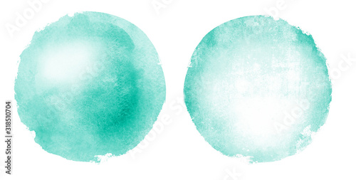 Fotografia Two watercolor circles on white as background