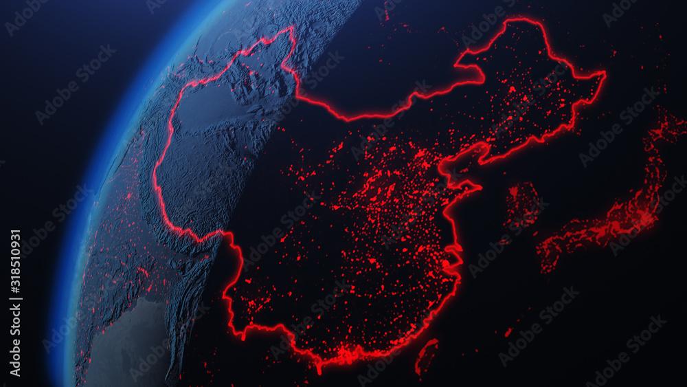 Fototapeta 3d iillustration of globe with China corona virus Spreads in Asia
