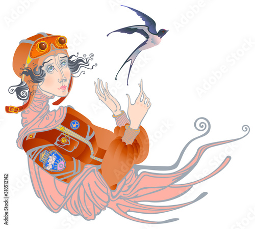Image of a girl in the form of a pilot letting go of a bird Canvas Print