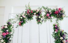 Wedding Arch Of Fresh Purple Flowers
