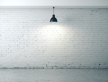 Room With Blank Wall, Lamp And Concrete Floor