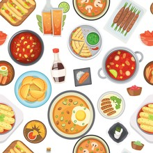 Dinner, Lunch And Fast Food Seamless Pattern, Vector Illustration. Junk Food And Healthy Dinner Background. Cartoon Soups, Pizza, Hot Dog, French Fries And Pies. For Restaurant Menu Cover Backdrop.