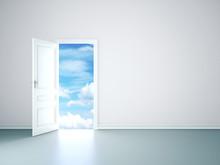 White Room Interior With Open Door To Sky