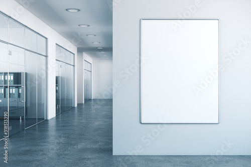 Fototapeta Modern office interior with empty poster obraz