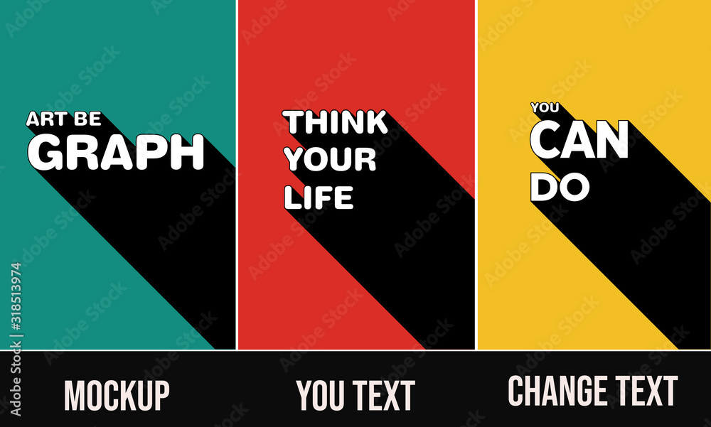 Fototapeta poster template set  3D Text Effect Mockup posters you can change text