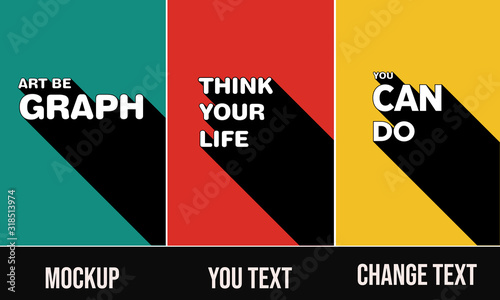 Fototapeta poster template set  3D Text Effect Mockup posters you can change text obraz