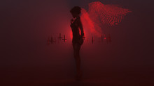 Black Seductive Devil Vampire Hair Up Wings Formed Out Of Small Red Spheres In Small Black Dress And Upside Down Floating Crosses Abstract Demon In A Foggy Void Side View 3d Illustration 3d Render