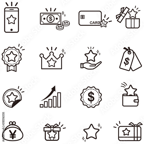 Photo Loyalty Program vector icons set