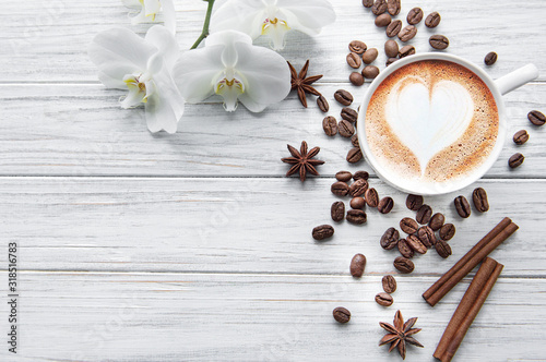 Fototapeta kawa   filizanka-kawy-z-wzorem-serca