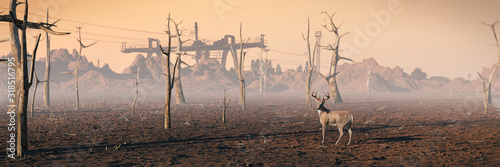 deer in dead forest, climate change crisis background