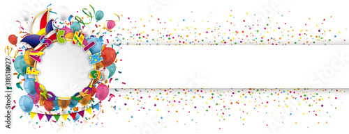 Obraz Fasching Banner mit Luftballons und Konfetti - fototapety do salonu