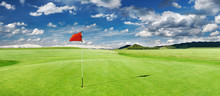 Golf Field With A Red Flag