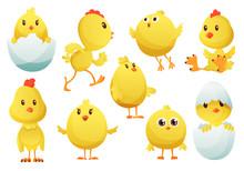 Cute Cartoon Chicken Set. Funn...