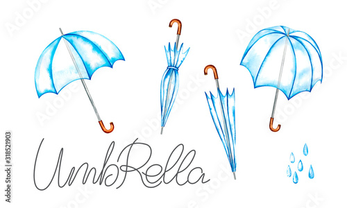 Umbrella transparent in open and closed state Wallpaper Mural
