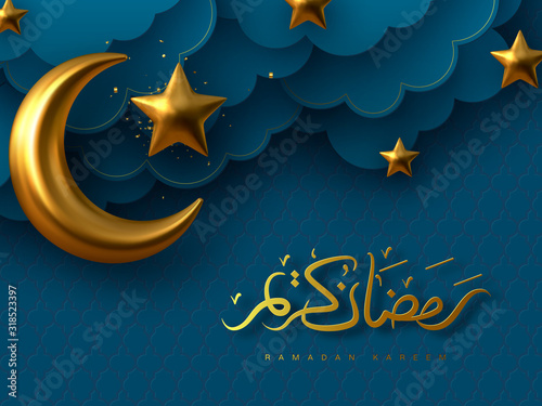 Photo Ramadan Kareem vector illustration with 3d golden metal crescent, stars and paper cut clouds