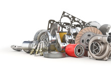 Pile Of Auto Parts Isolated On A White Background. 3d Illustration